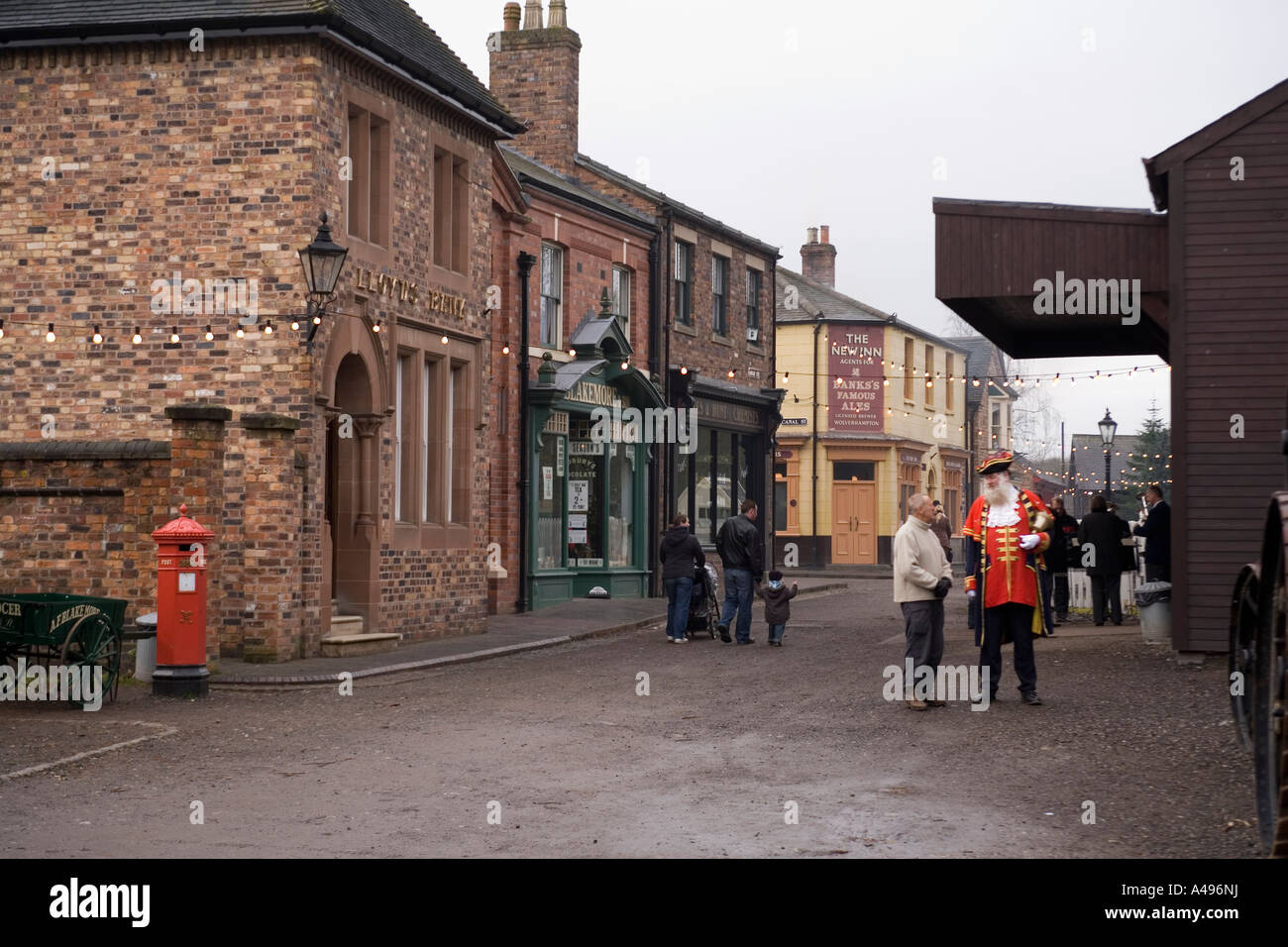 UK Shropshire Ironbridge Blists Hill Victorian Town Museum the High Street at Christmas - Stock Image