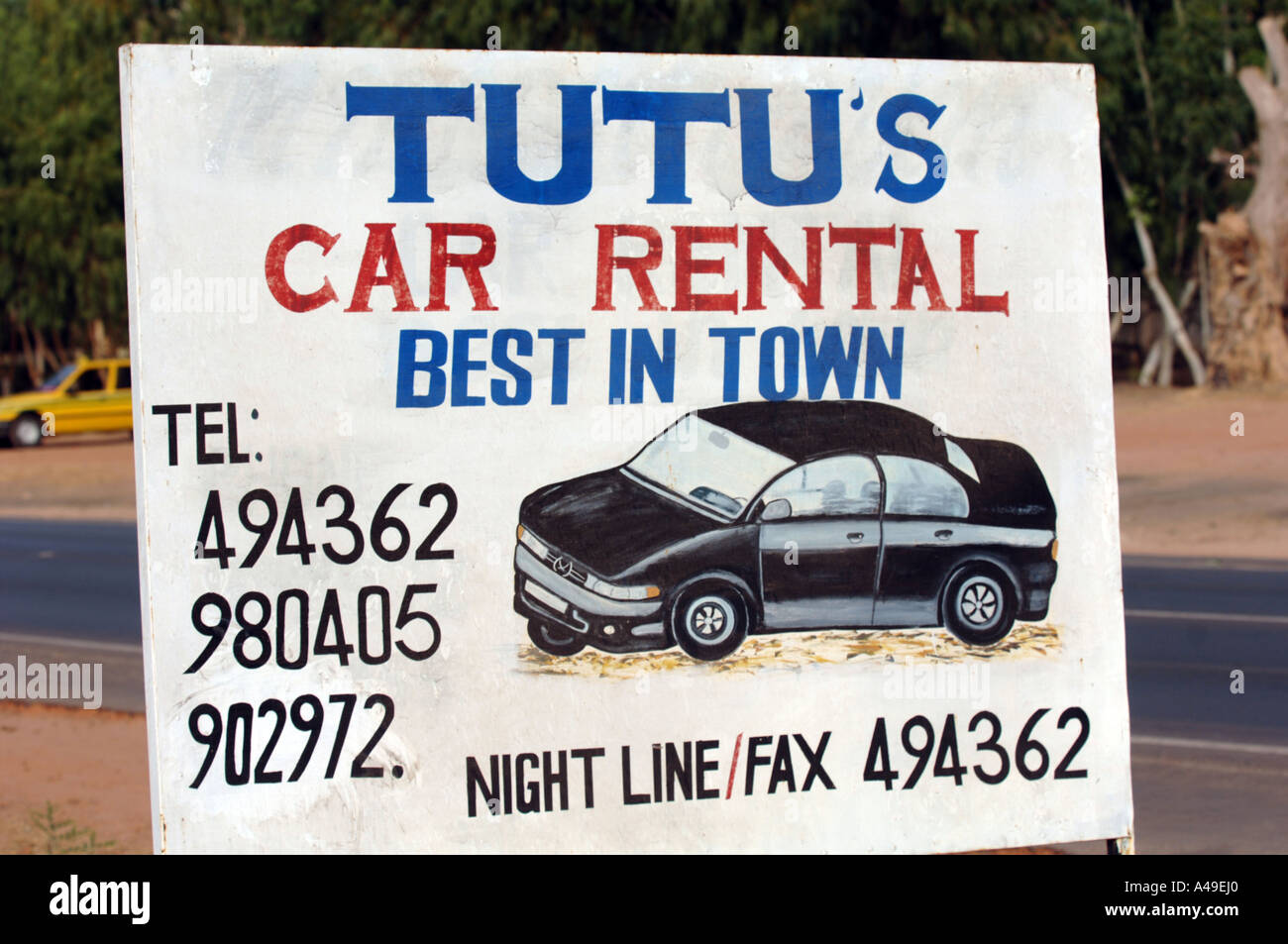 Local Car Rental >> Local Car Rental Sign The Gambia Stock Photo 6272927 Alamy