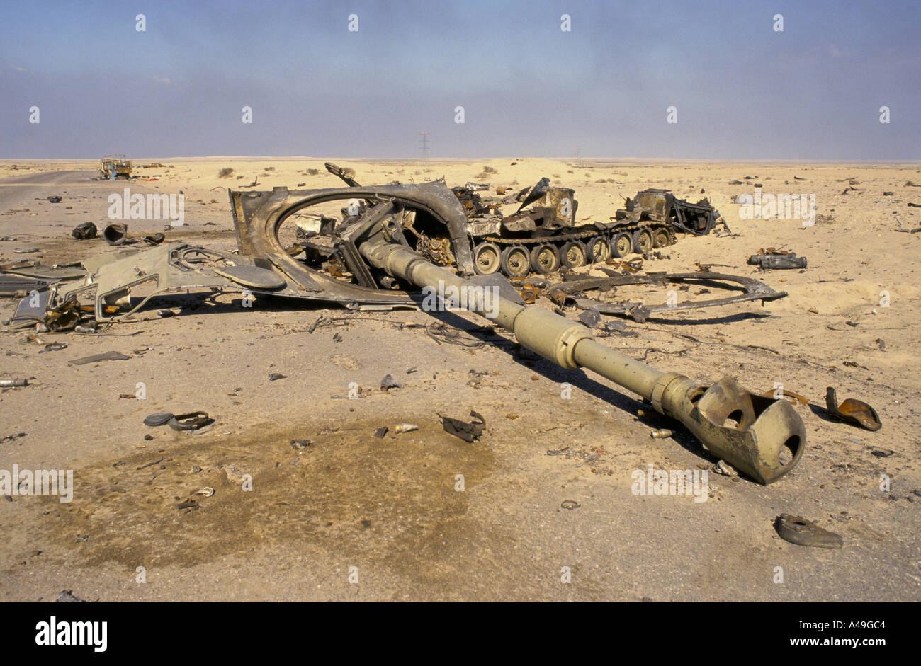 kuwait war aftermath knocked out iraqi tank 4 91 1991 - Stock Image