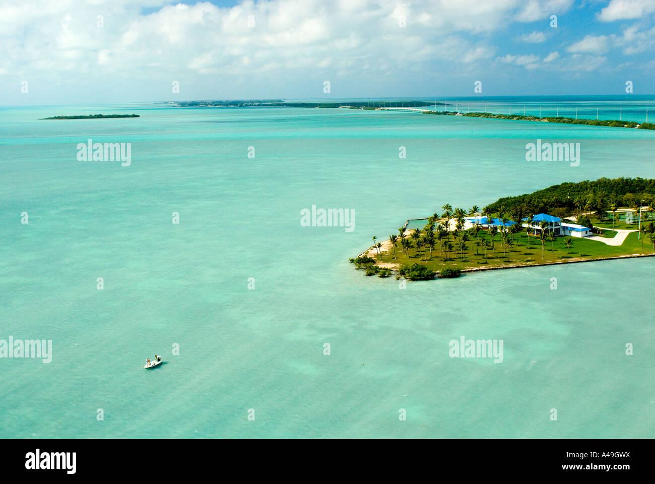 Usa florida keys aerial view of paradise island fishing for Florida keys bridge fishing