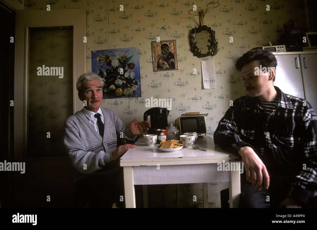 man who saved the earth stanislav petrov former soviet military prevented potential nuclear launch with son dmitri - Stock Image