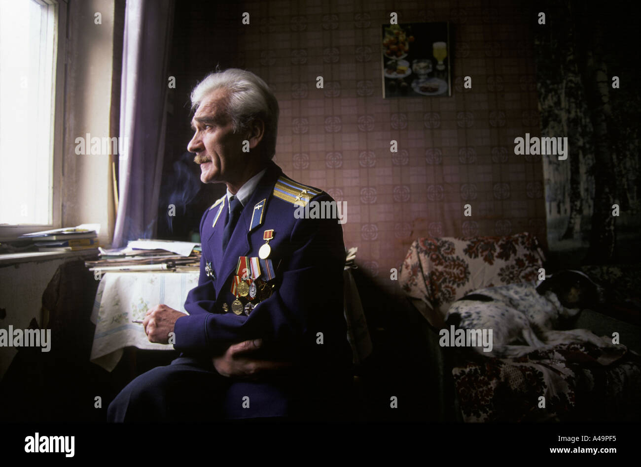 man who saved the earth stanislav petrov former soviet military prevented potential nuclear launch wearing uniform - Stock Image