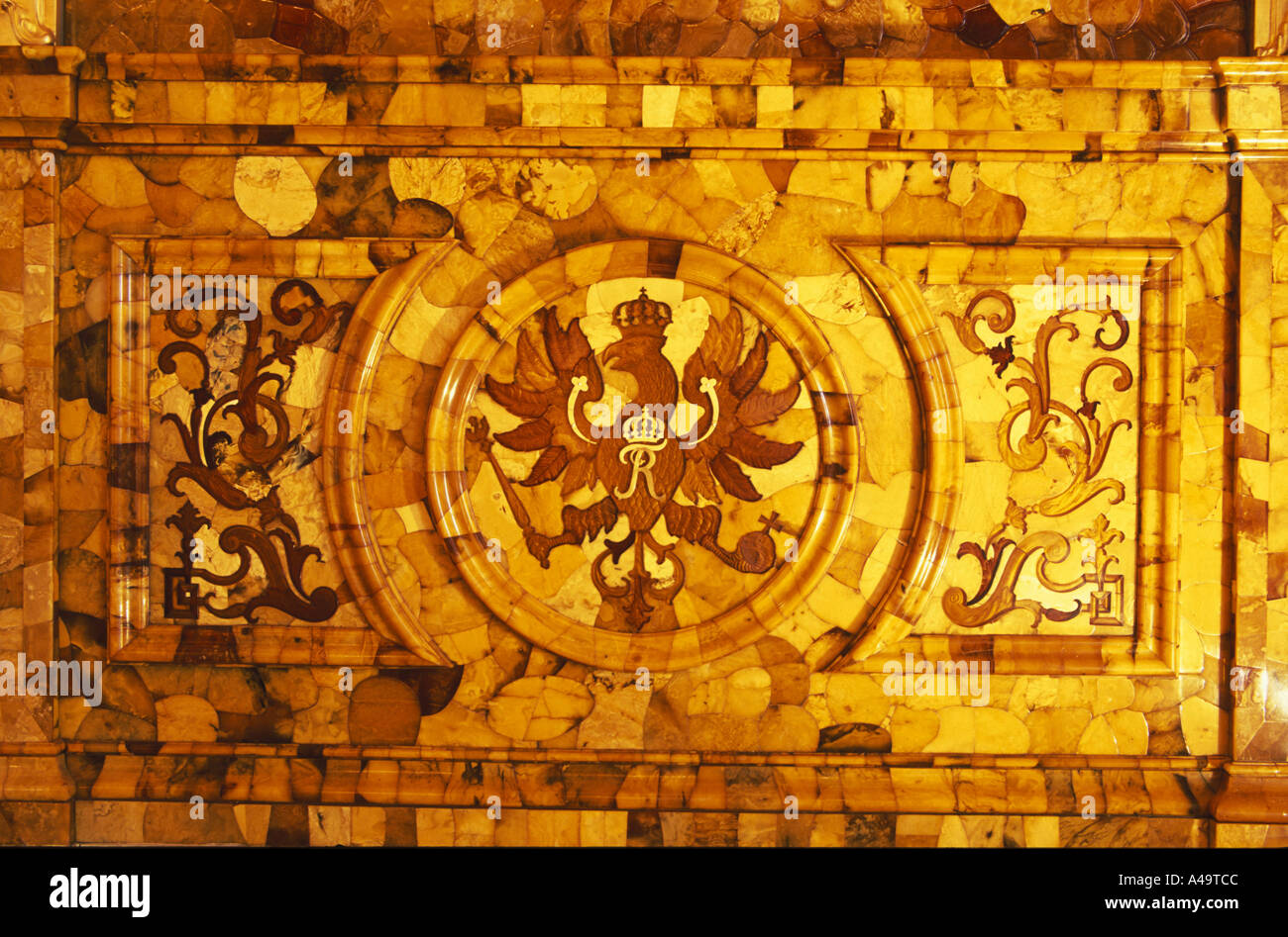 Detail of an amber panel of the newly restored amber room in Stock ...