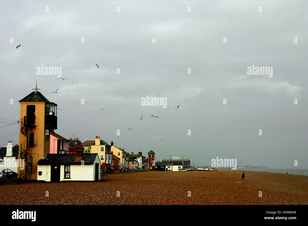 The shingle beach at Aldeburgh home of the composer Benjamin Britten in Suffolk. East Anglia. UK - Stock Image