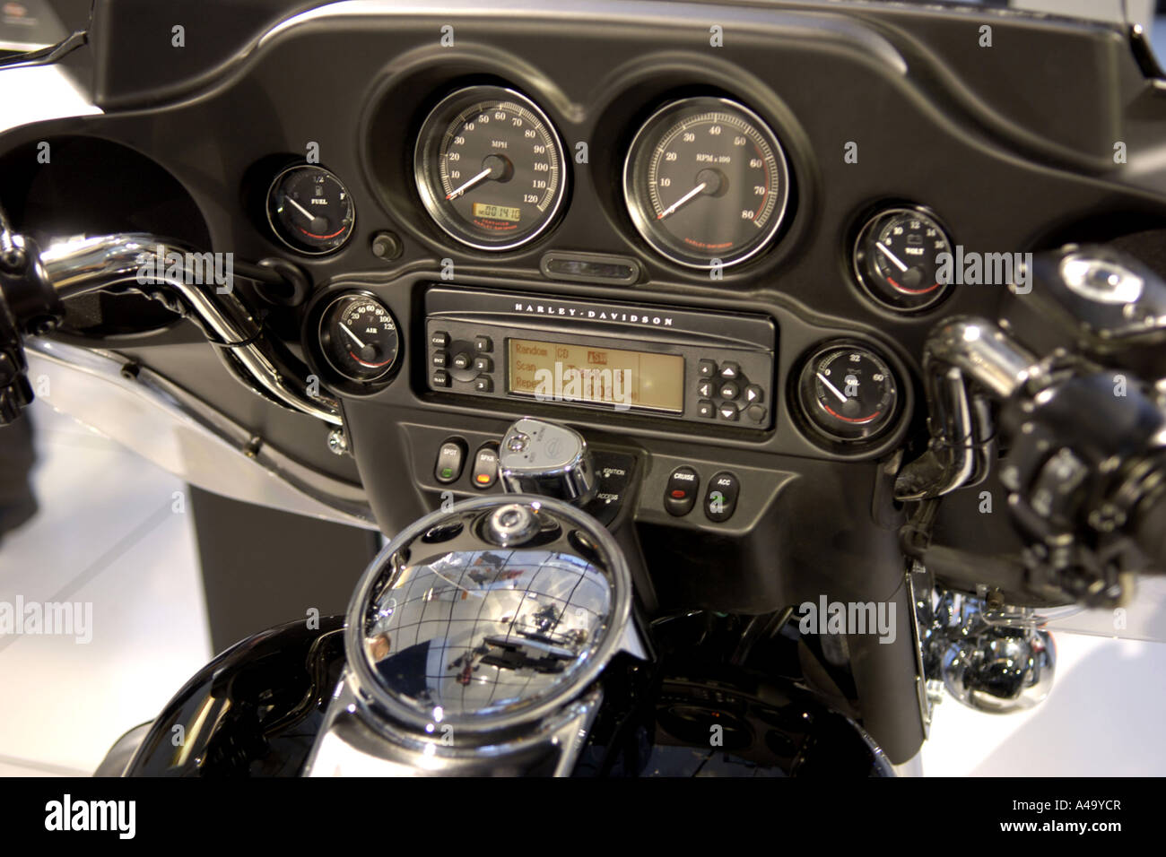 A Harley Davidson Cockpit With A Dvd Player Stock Photo 10982086