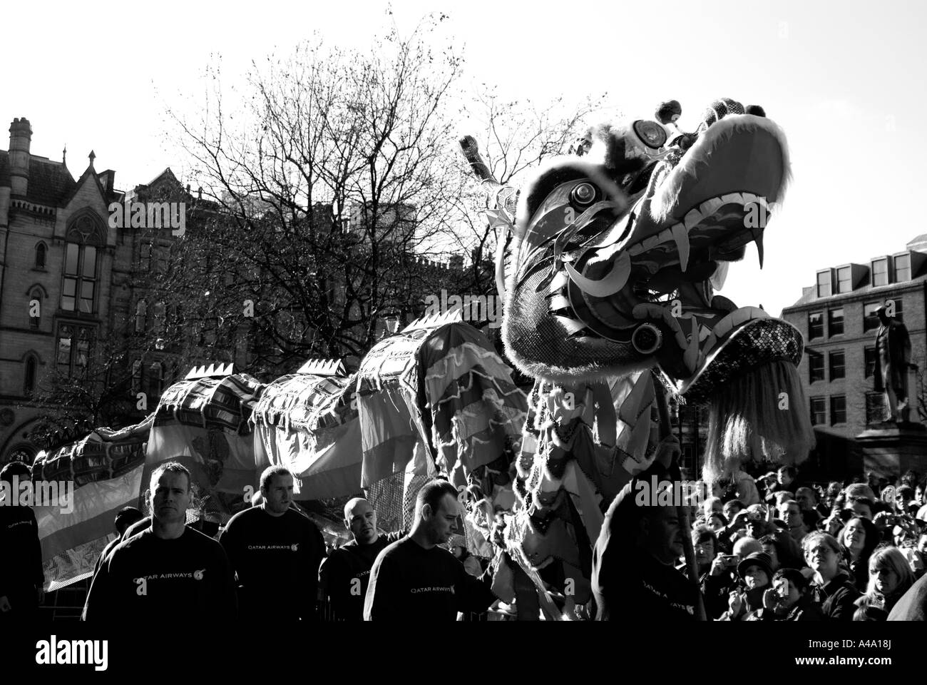 Dragon dance in Chinese New Year Celebration in Albert Square Manchester UK 2007 - Stock Image