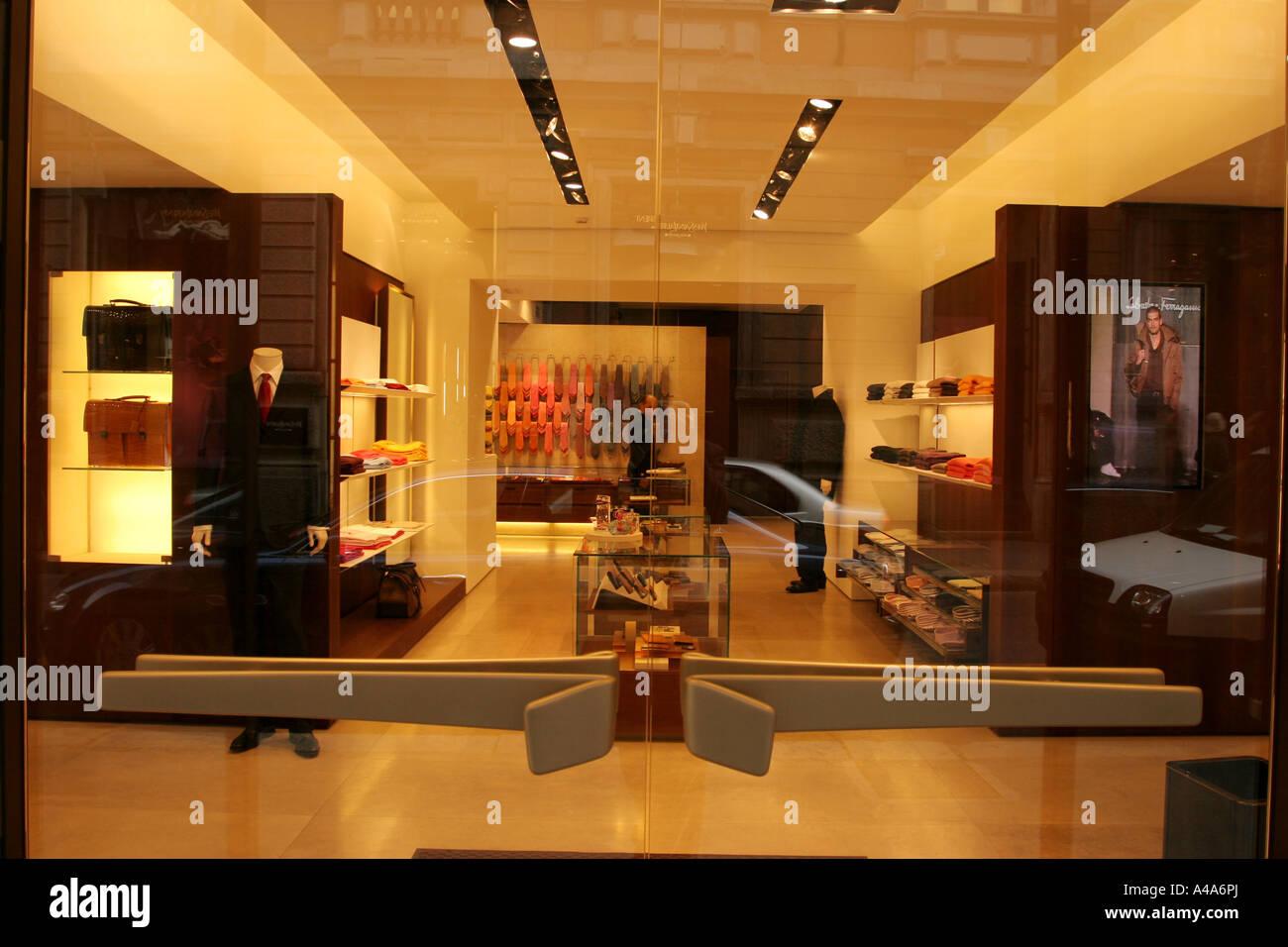 Salvatore Ferragamo shop Monte Napoleone street Milan Lombardy ITaly - Stock Image