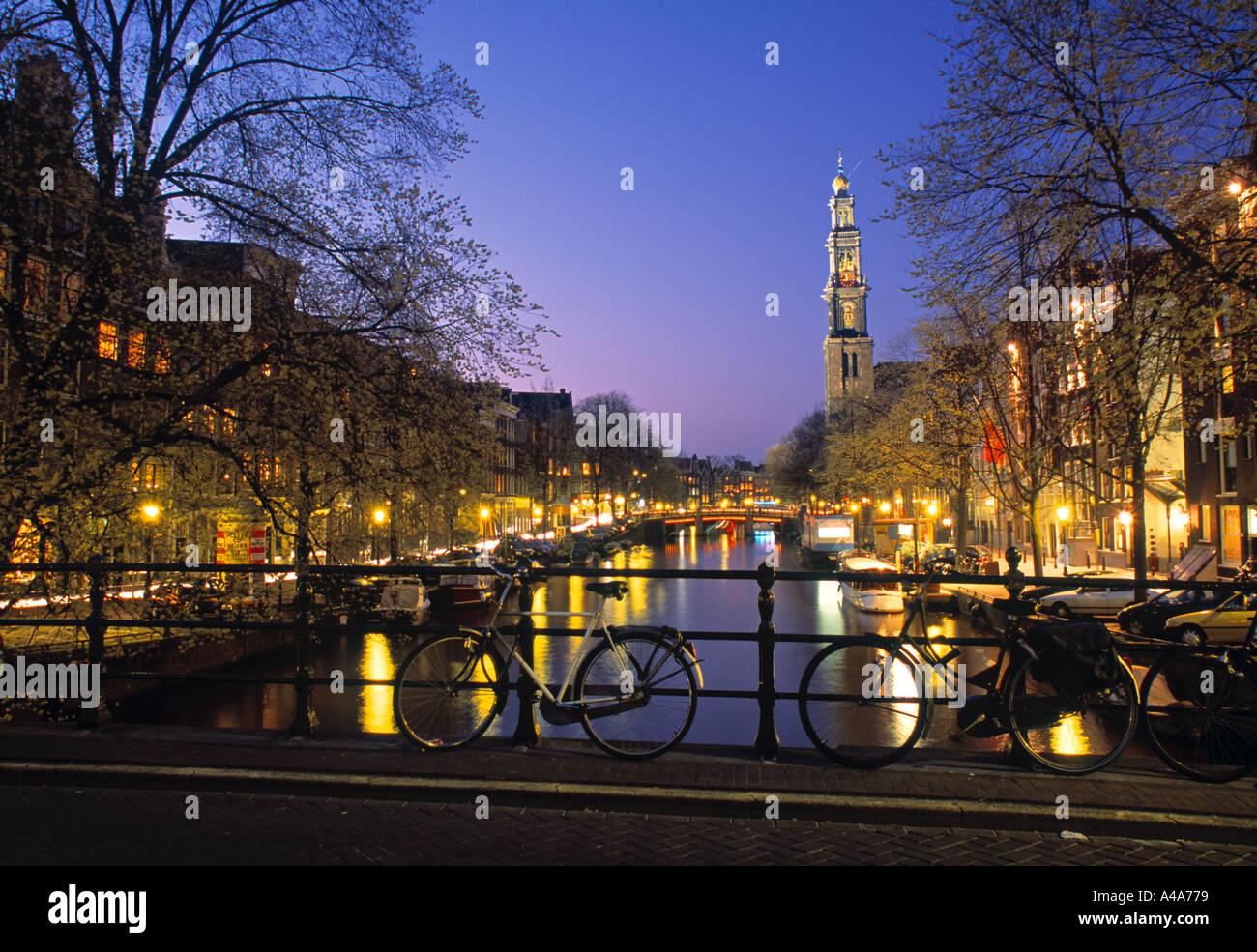 Prinsengracht & Wsterkerk, Amsterdam, Holland - Stock Image