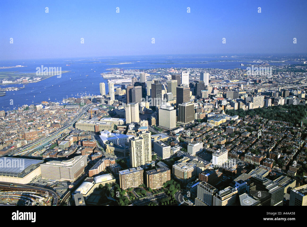 Downtown & Harbour, Boston, MA, USA - Stock Image