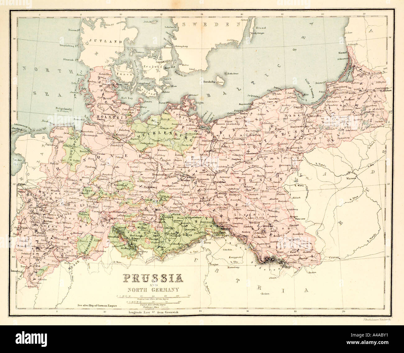 map cartography prussia plan route navigate road river europe - Stock Image