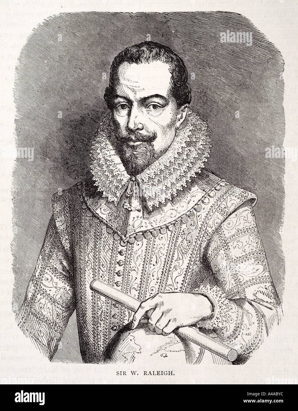 sir walter raleigh portrait costume beard moustache telescope discover explore - Stock Image