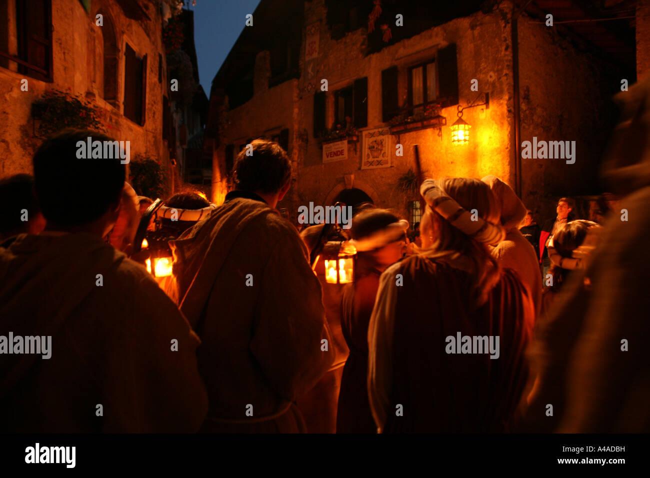 Historic recalling during Rustico Medioevo manifestation Canale di Tenno Trentino Alto Adige Italy - Stock Image