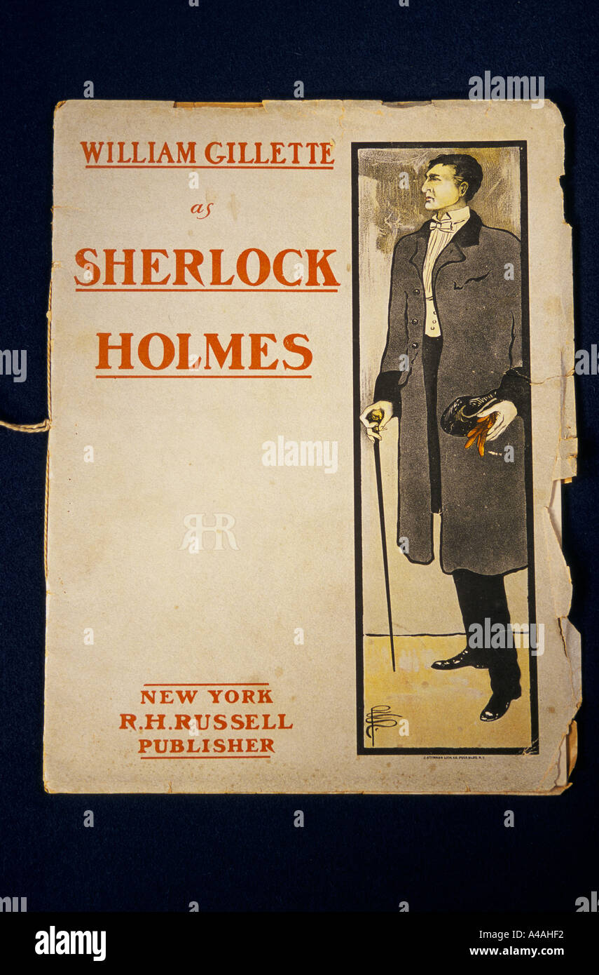 items from the archive of Sir Arthur Conan Doyle author. A  theatre programme with Actor William Gillette as Sherlock Holmes - Stock Image