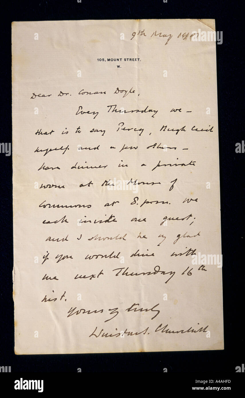 A letter from the archives of Sir Arthur Conan Doyle, detailing a dining invitation from Winston Churchill. - Stock Image