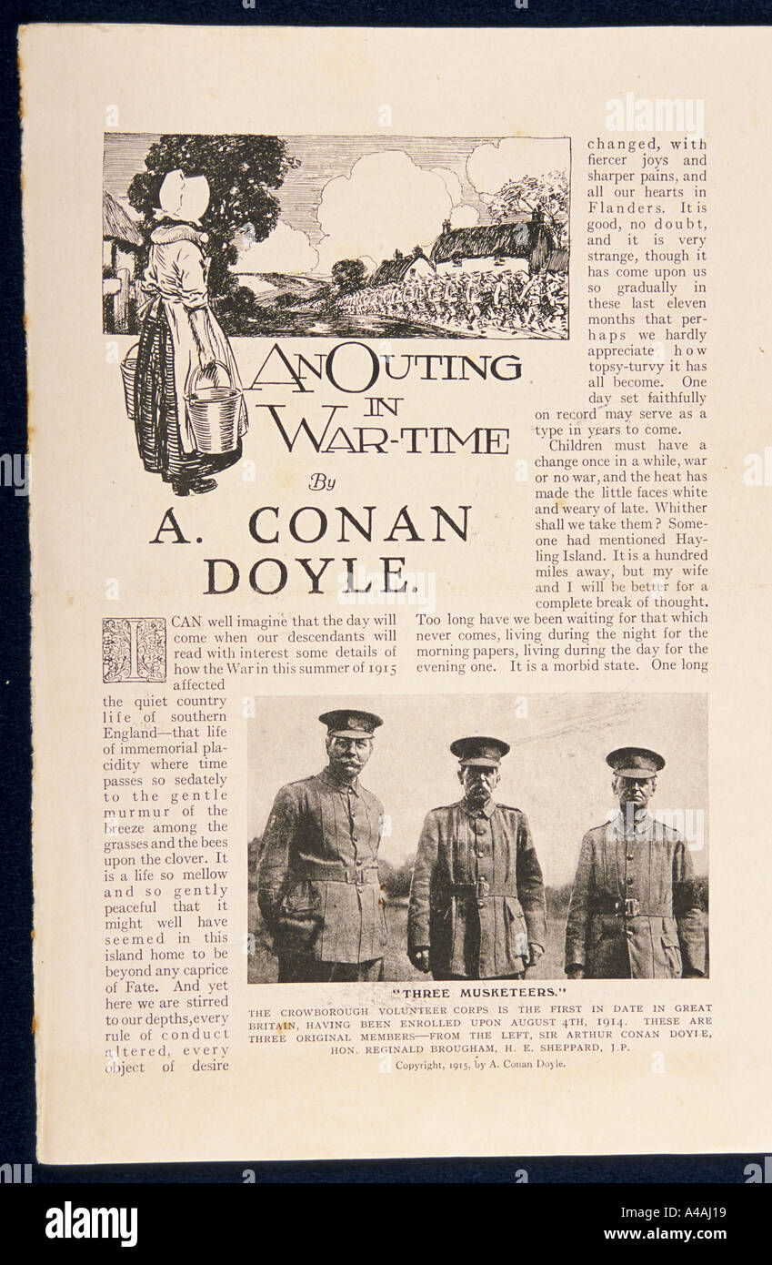 Items from the archive of Sir Arthur Conan Doyle, author. An article by Conan Doyle - Stock Image