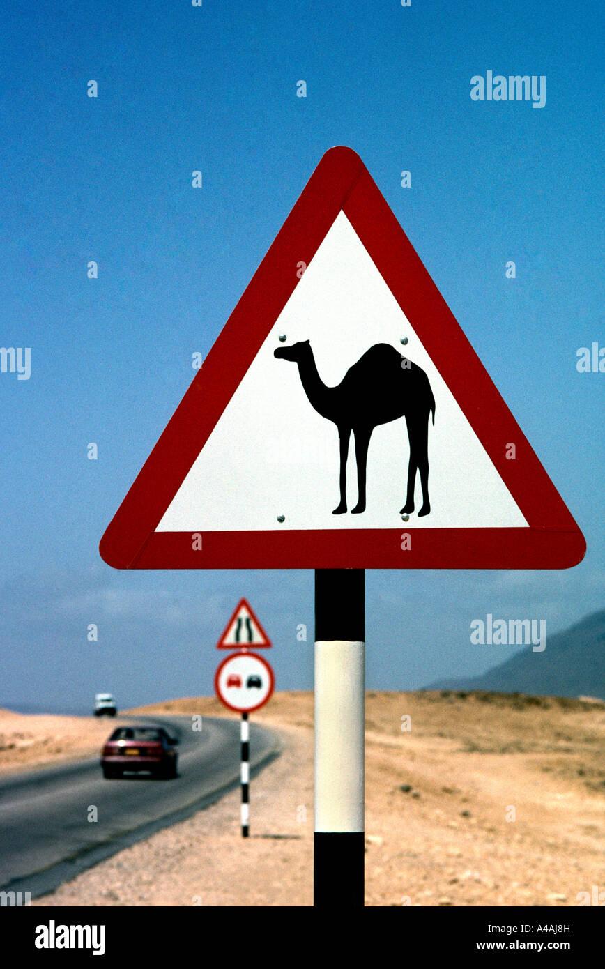 Sultanate of Oman. Sign warning of camel crossing just north of Salalah - Stock Image