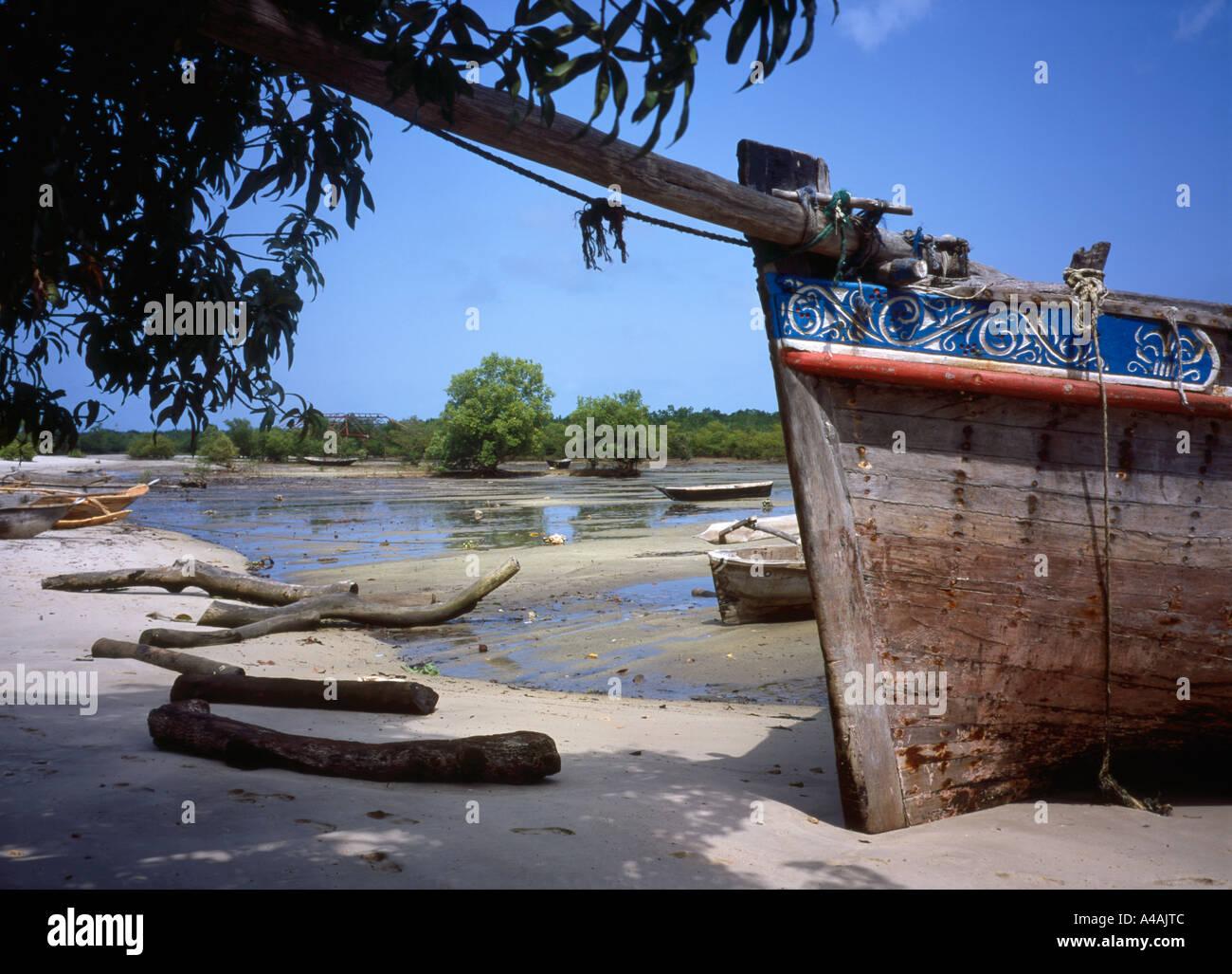 A Traditional Boatyard Building Wooden Boats On Zanzibar Stock Photo