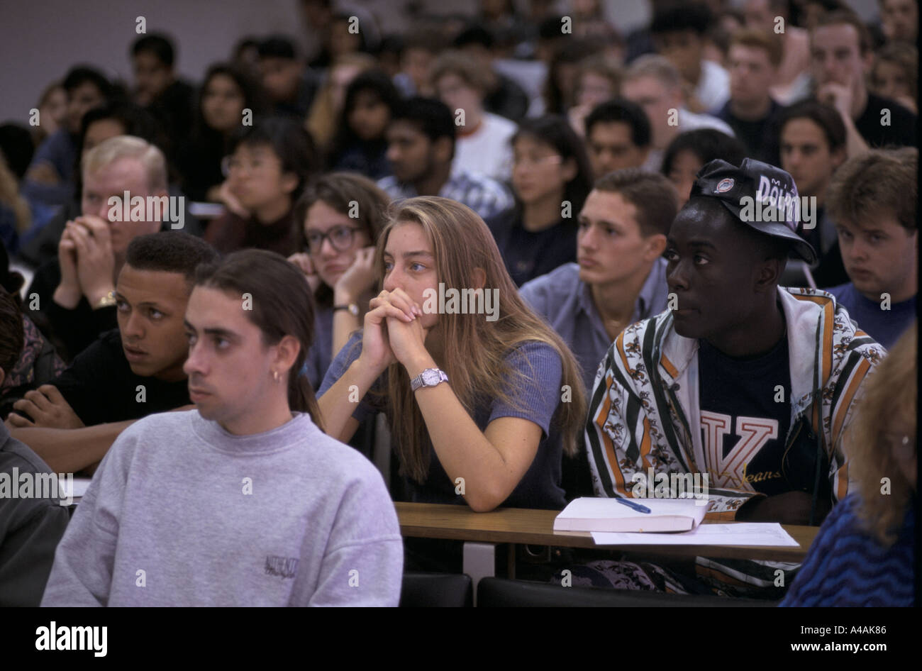 first year students at a lecture Luton university - now Bedfordshire University - Stock Image