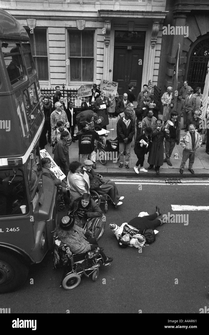 England disability transport protest Whitehall London England - Stock Image