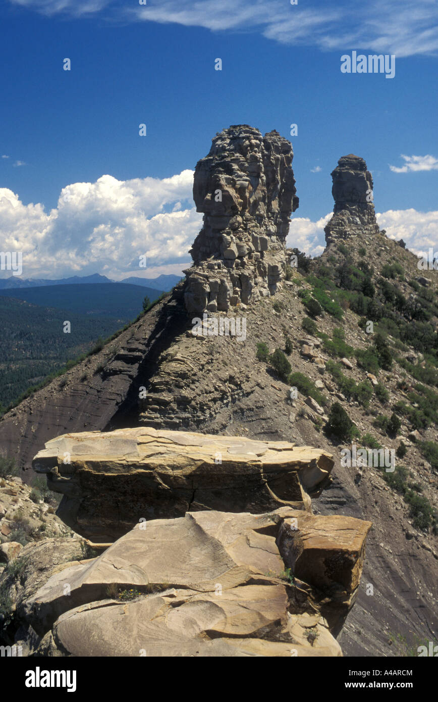 Pagosa Springs Colorado Chimney Rock the focus of an Anasazi community dating from the tenth century - Stock Image