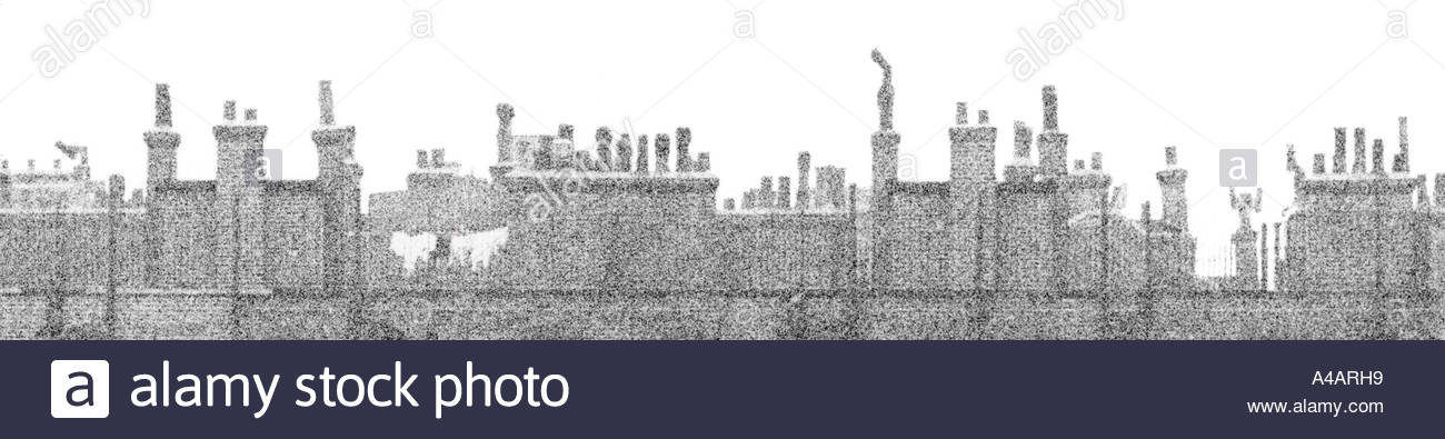 London 1960s chimney pot, roof top panorama skyline at Coronation Buildings, Vauxhall, UK, with washing on clothes line - 1968 - Stock Image