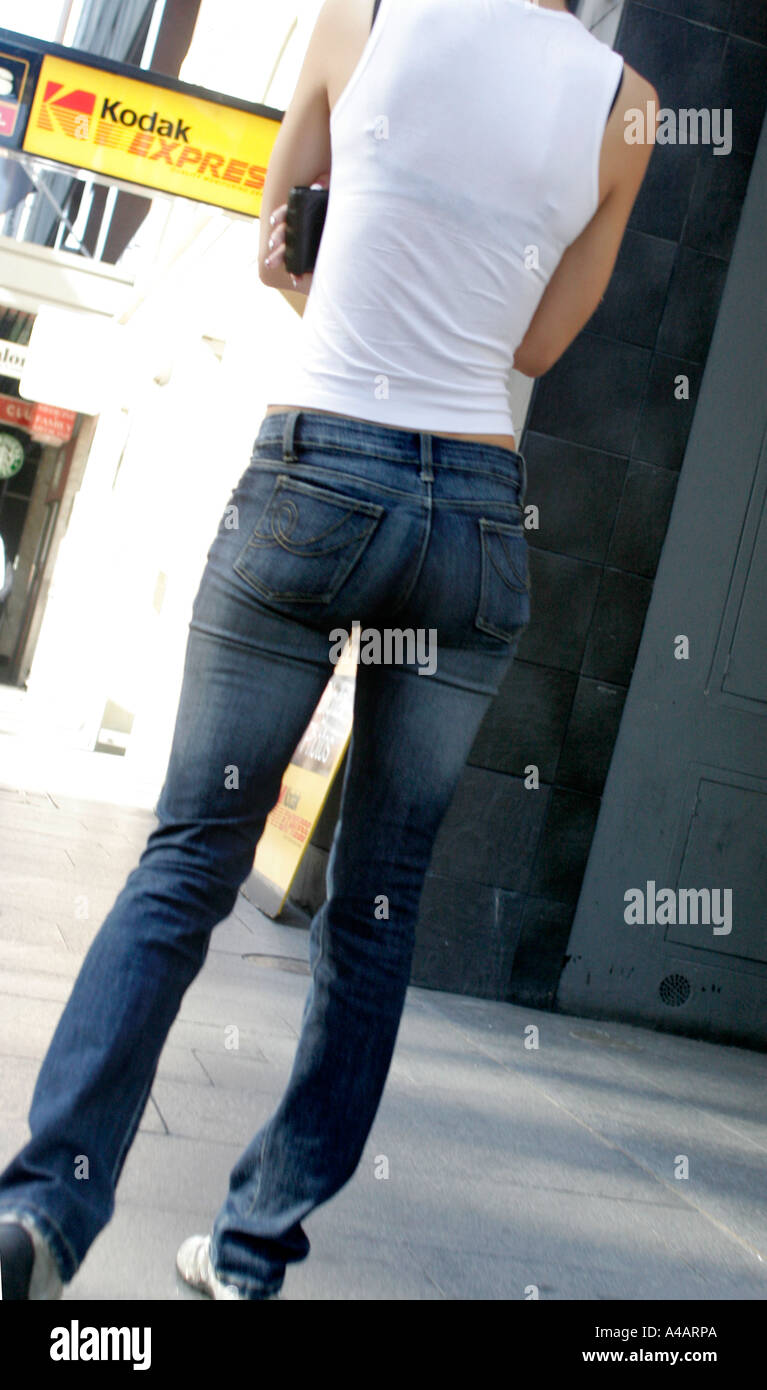 231d640547 A shapely female figure in denim jeans Sydney Australia Stock Photo ...