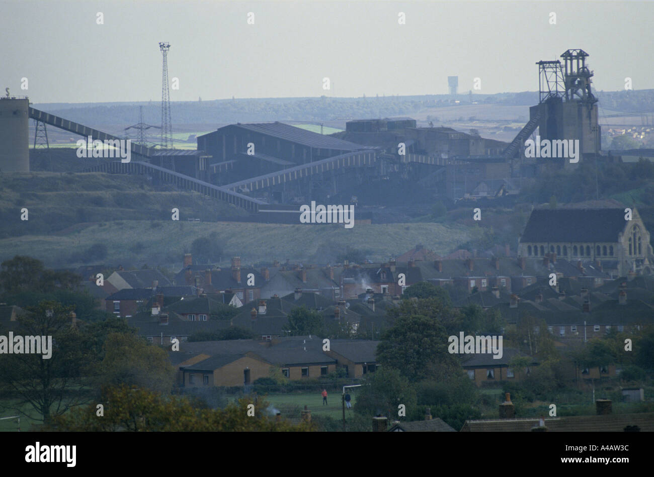 VIEW OF SHIREBROOK COLLIERY, NOTTINGHAMSHIRE, ENGLAND.  THE COAL MINE IS SHORTLY TO CLOSE. 1992 - Stock Image