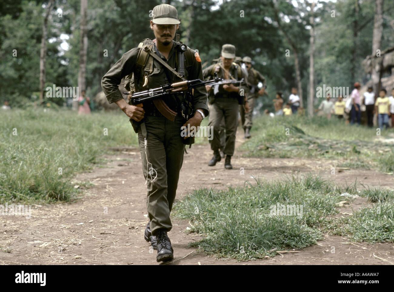 Kisan anti-Sandinista rebel Miskito Indian Contras preparing a raid across the Honduran border into Nicaragua, JulyStock Photo
