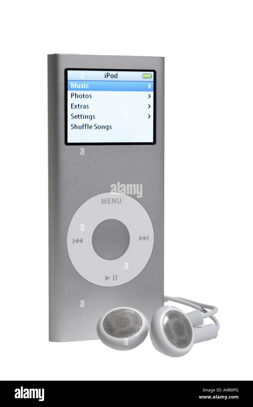 Ipod Nano and Earbuds cut out on white background - Stock Image