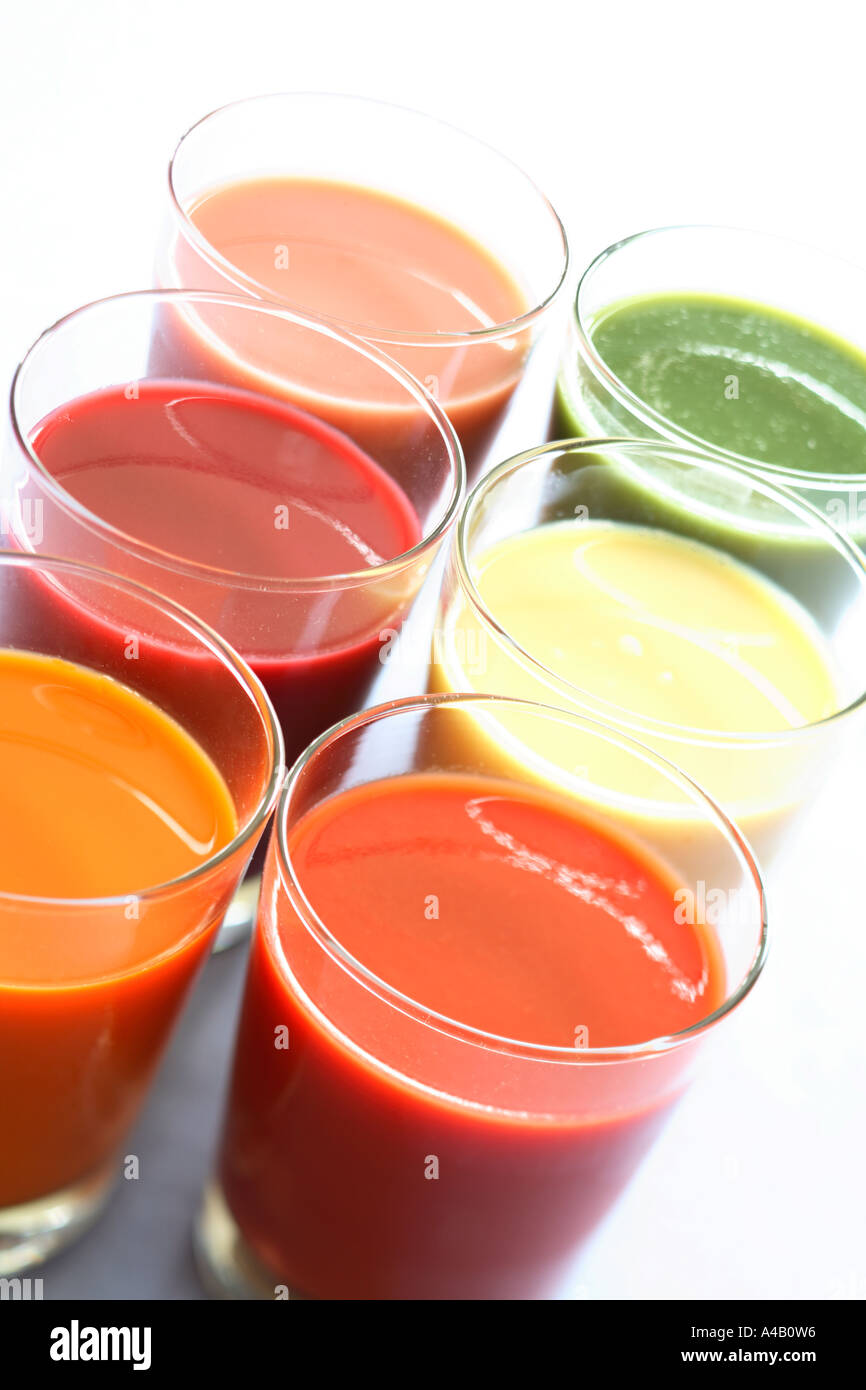 Healthy vegetable and fruit juices - Stock Image