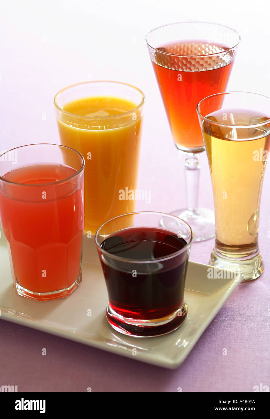 Assortment of Fresh Fruit Juices - Stock Image