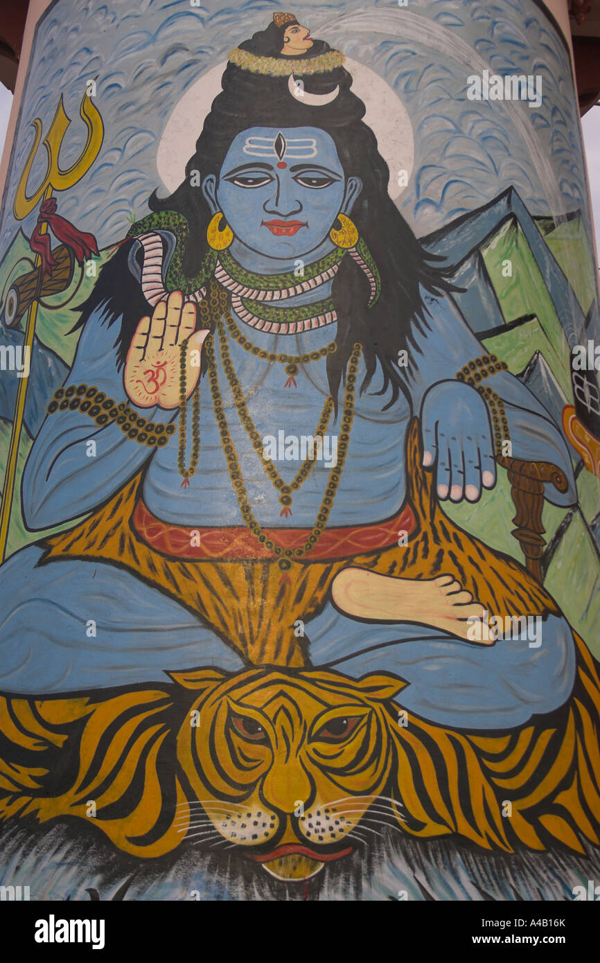 A painting of Shiva on the banks of the river Ganga, Varanasi - India - Stock Image
