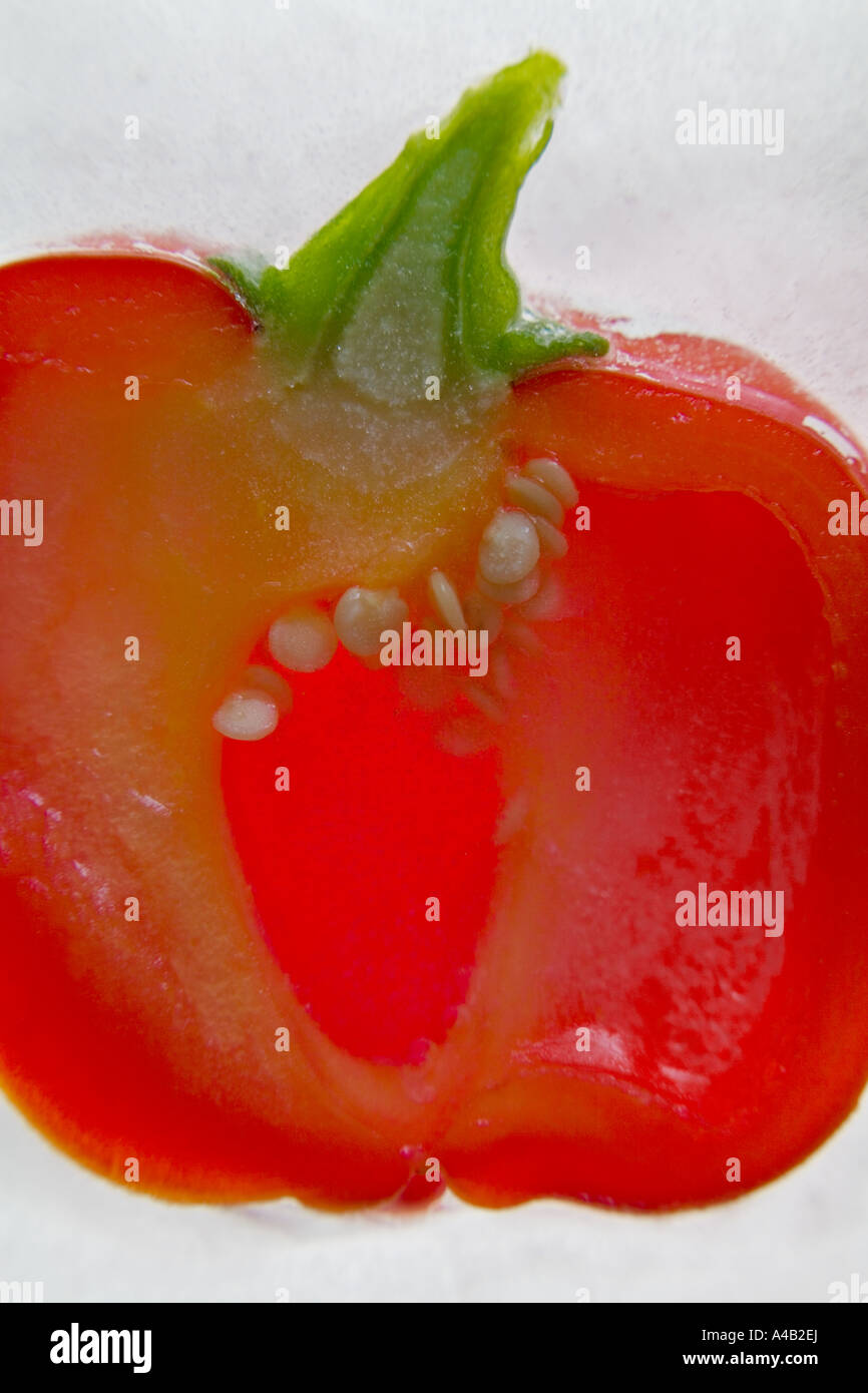Close-up of a red pepper half showing the inside with seeds frozen in ice Stock Photo