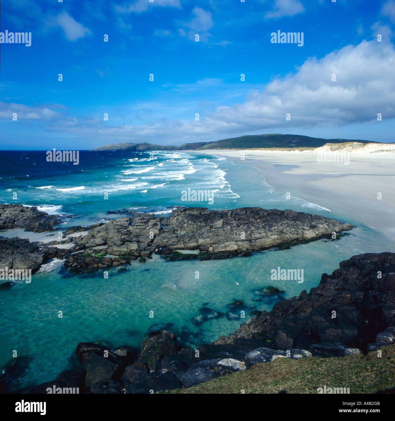 Traigh Eais Beach Isle of Barra on the Outer Hebrides Scotland - Stock Image