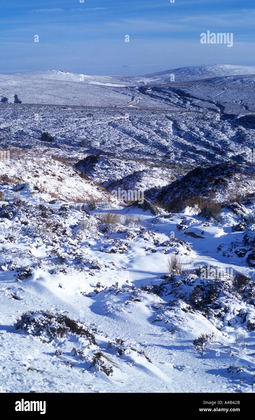 Dartmoor in Winter View from Warren House Inn - Stock Image