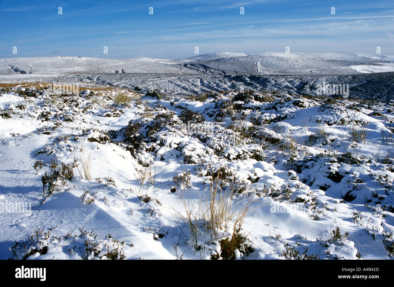 Dartmoor in Winter View from Warren House Inn, Dartmoor, Devon, England - Stock Image