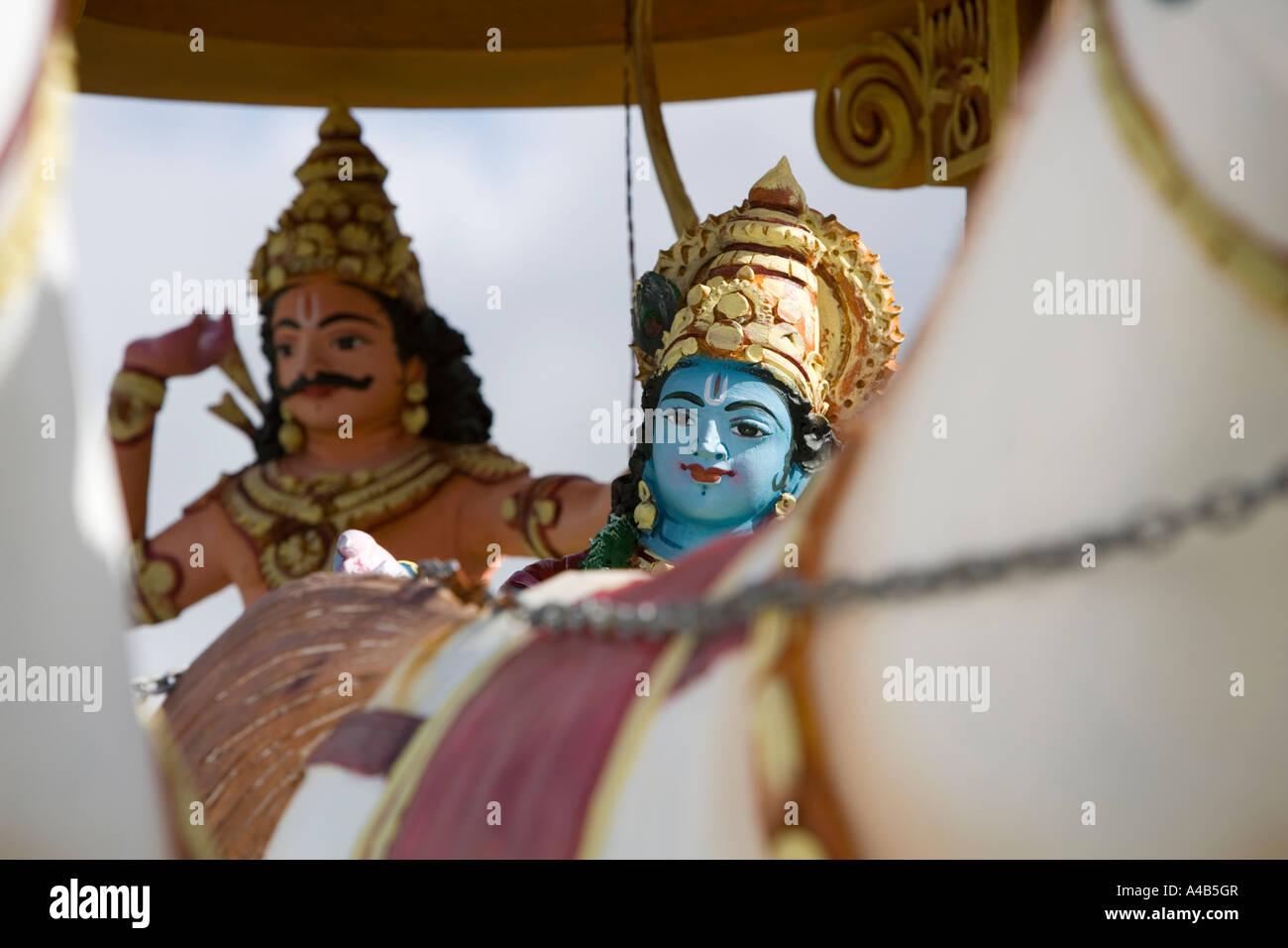 [^Hari ^Hara ^Tamil ^Temple] with ^Krishna and ^Karnam in ^chariot - 'Mauritius' - Stock Image