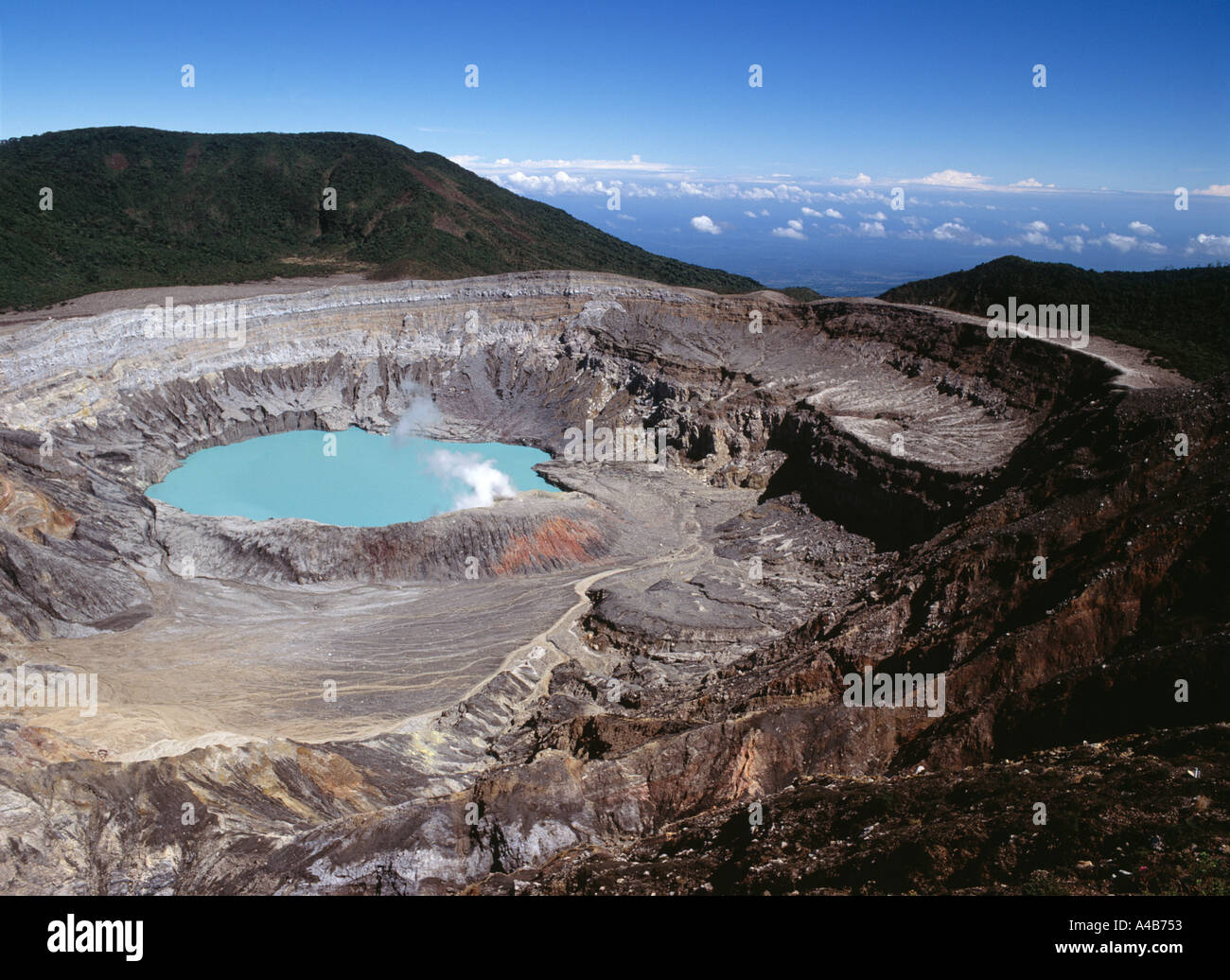 Crater of the Poas Volcano - Stock Image
