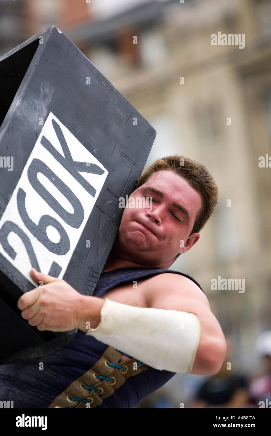 Male harrijasotzaileak (stone lifting) competitor lifting 260 kilo
