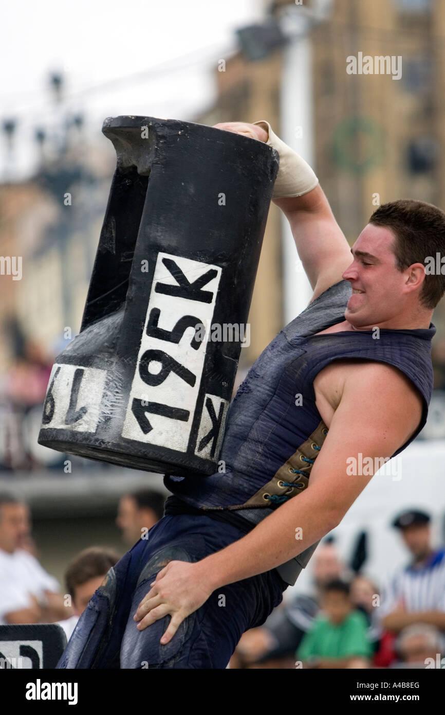 Male harrijasotzaileak (stone lifting) competitor lifting 195 kilo