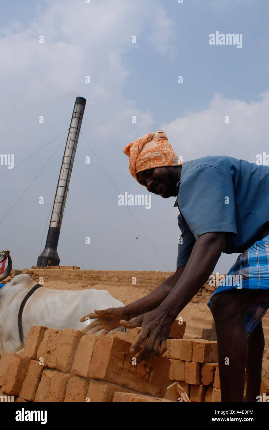 Stock image of Dalit tribal village people working in a brickyard or brick factory near Chennai Tamil Nadu India - Stock Image