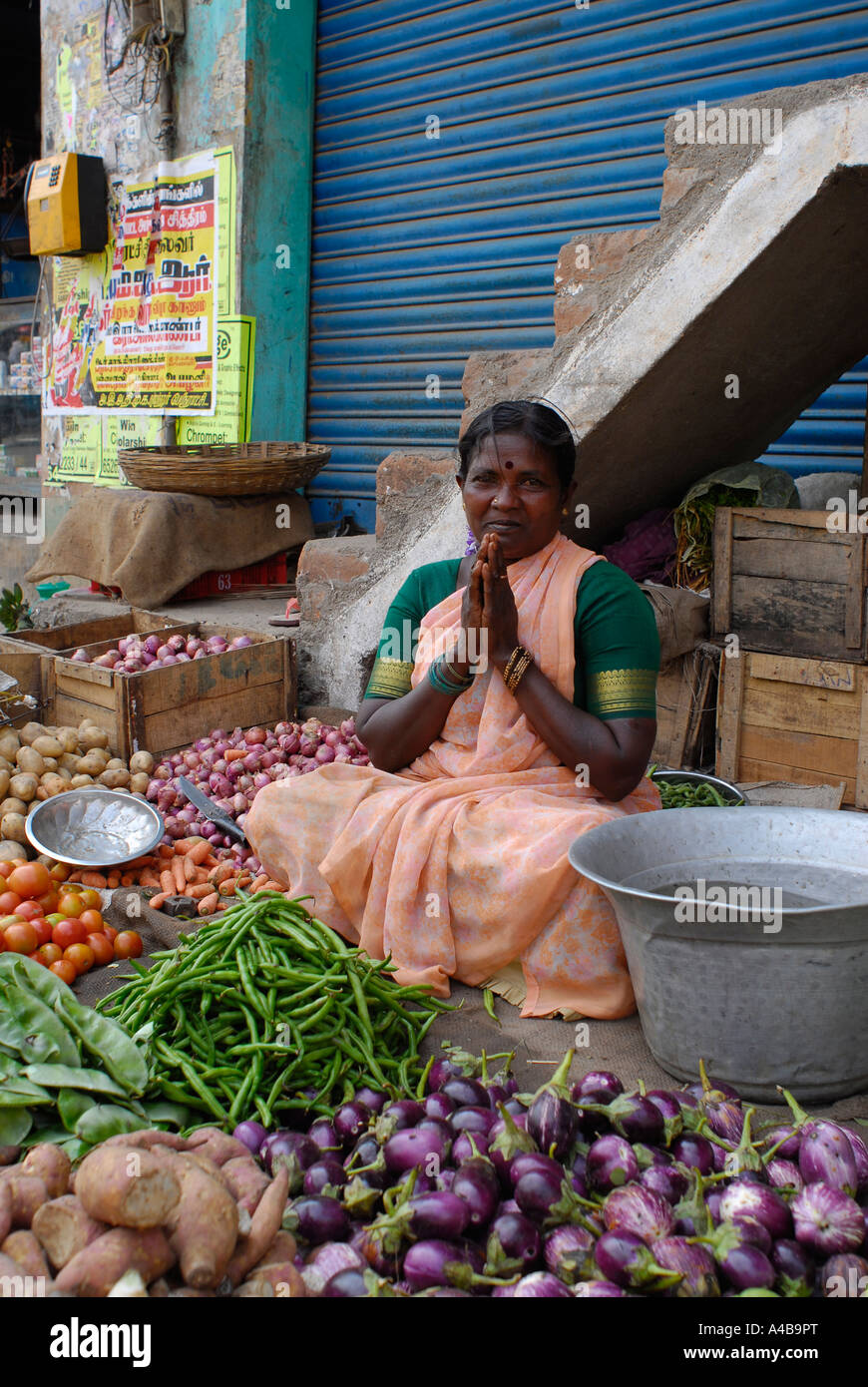 Stock image of Dalit tribal village women selling vegetables and flowers at a market near Chennai Tamil Nadu India - Stock Image
