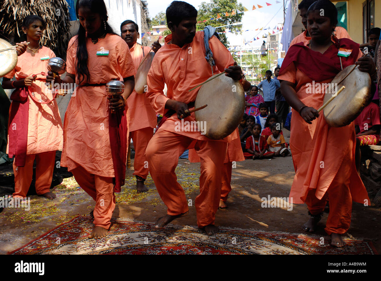 Stock image of traditional Dalit drummers dancers and drums in Daspuram slum in Chennai Tamil Nadu India - Stock Image