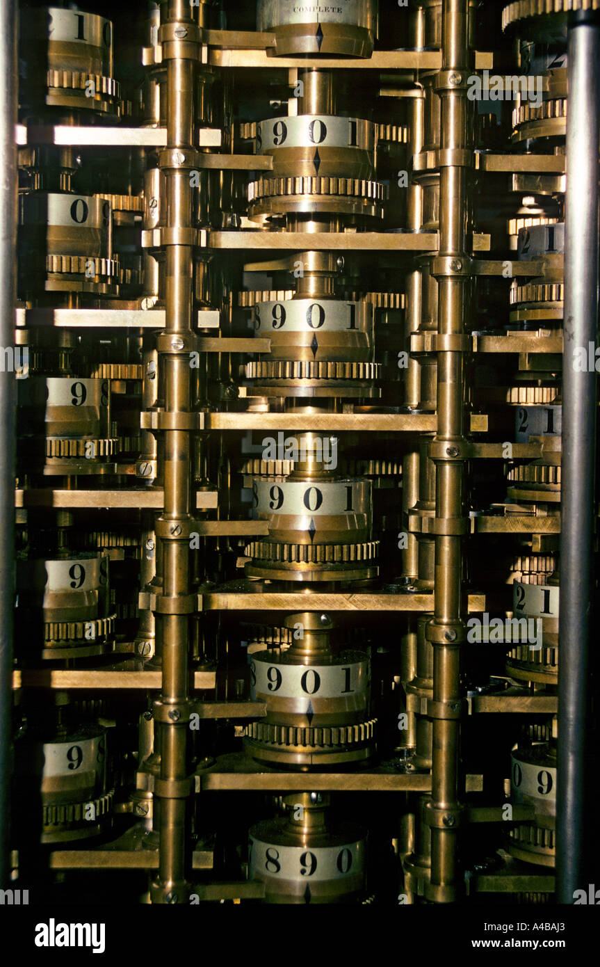 Part of the Babbage analytical engine computer the first ever designed - Stock Image