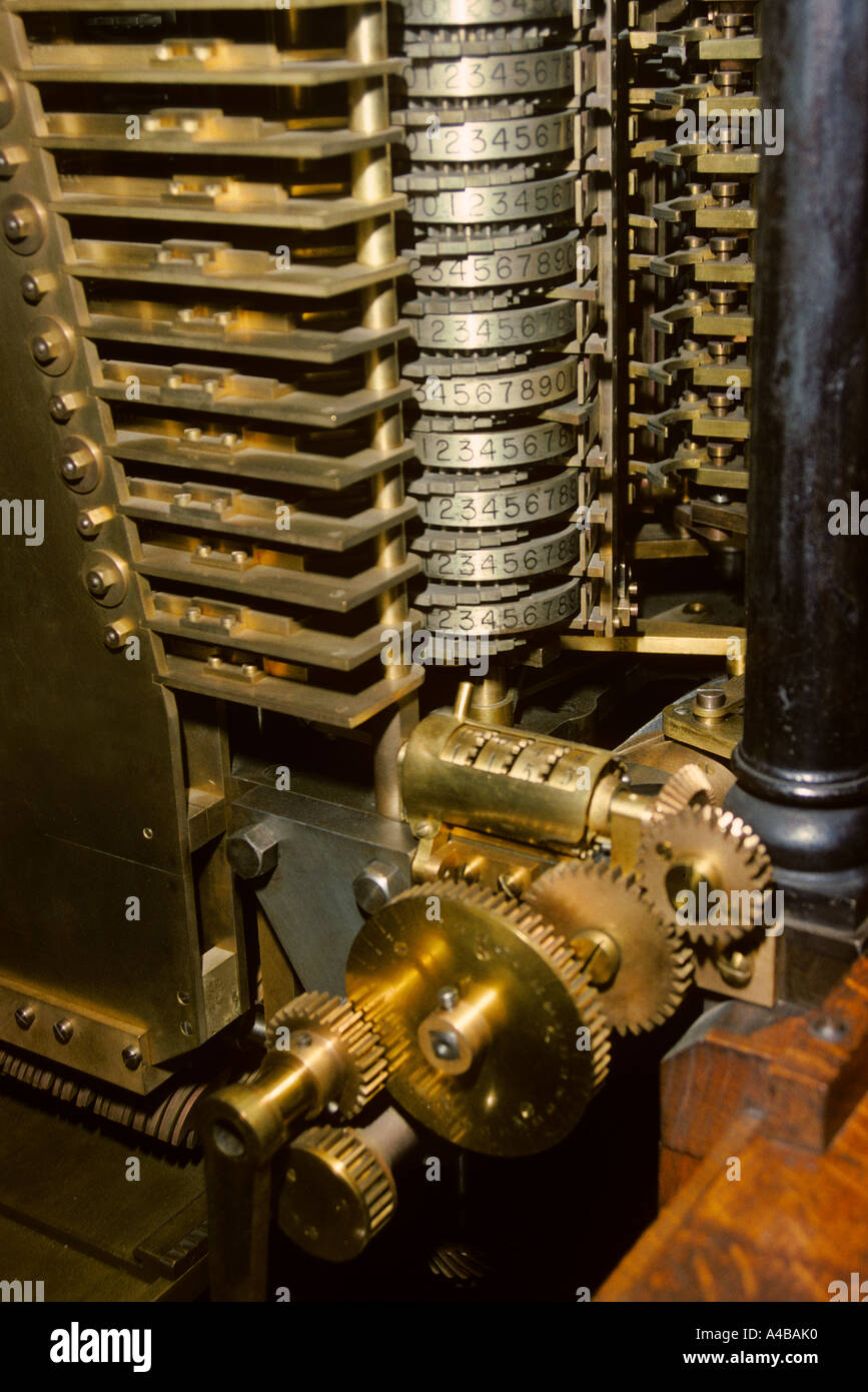 Part of the Babbage analytical engine computer the first ever designed a modern replica of a machine never built - Stock Image