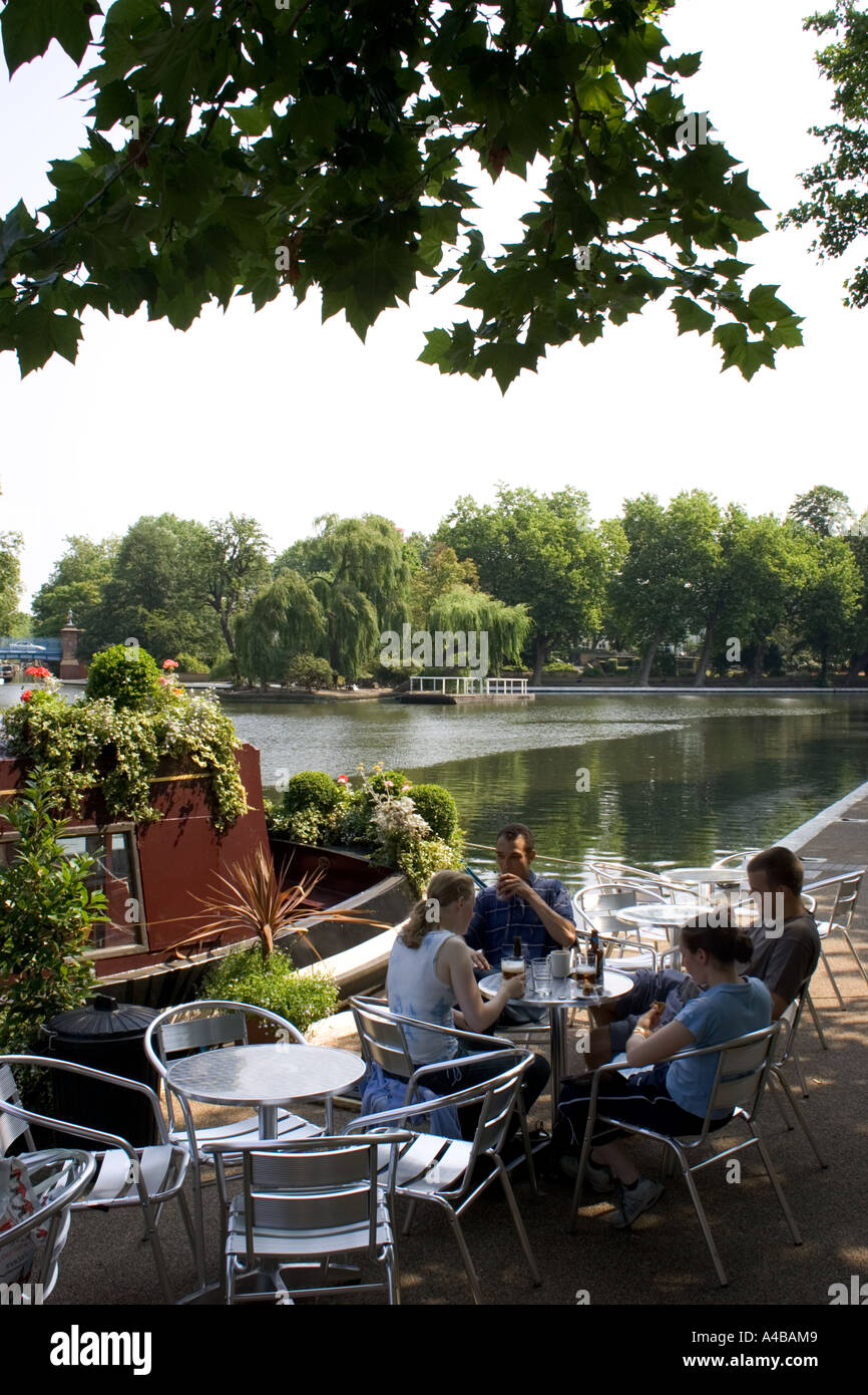 cafe little, venice, canal, london, uk, - Stock Image