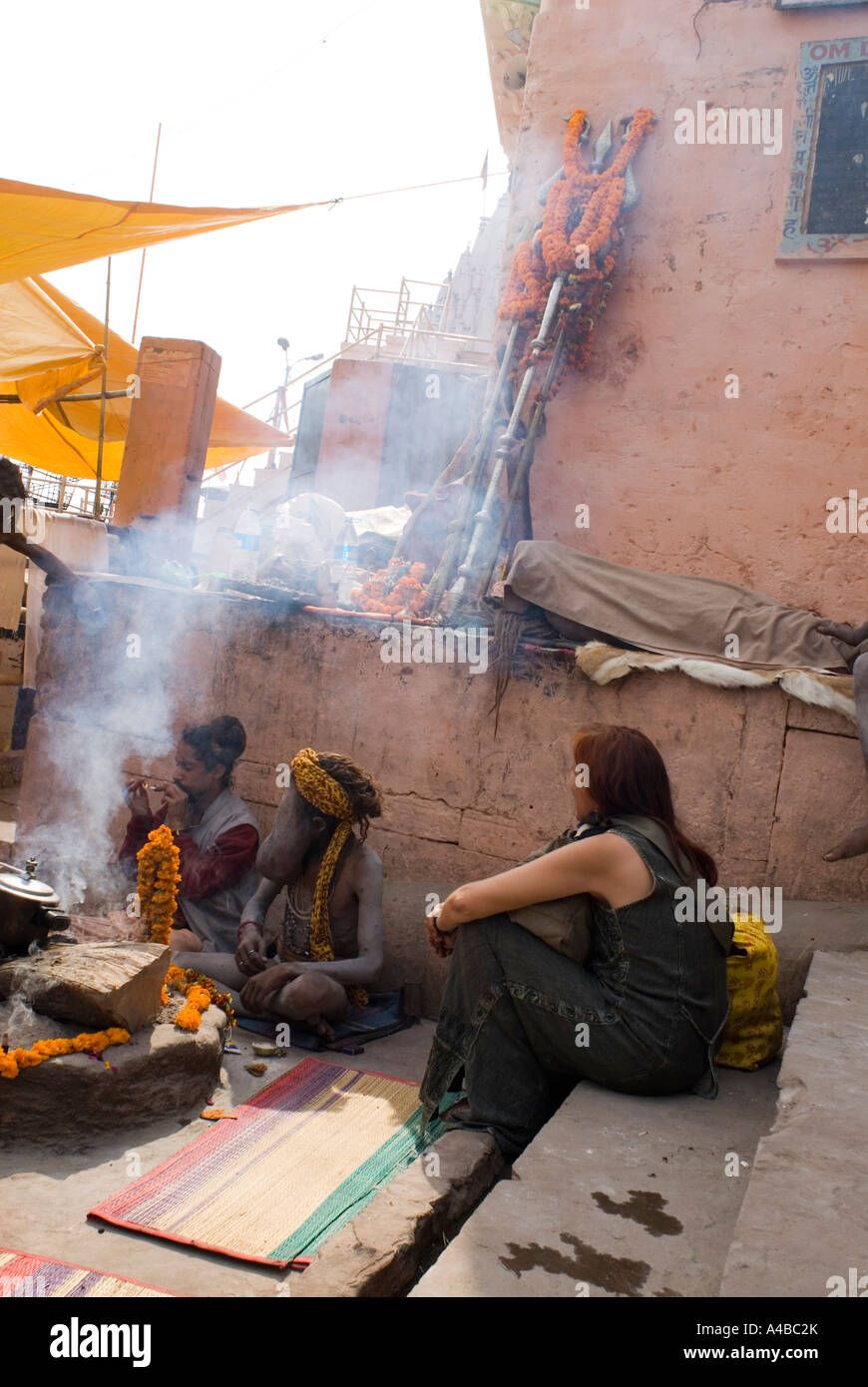 Stock image of a sadhu in Varanasi with severe edema of the face - Stock Image