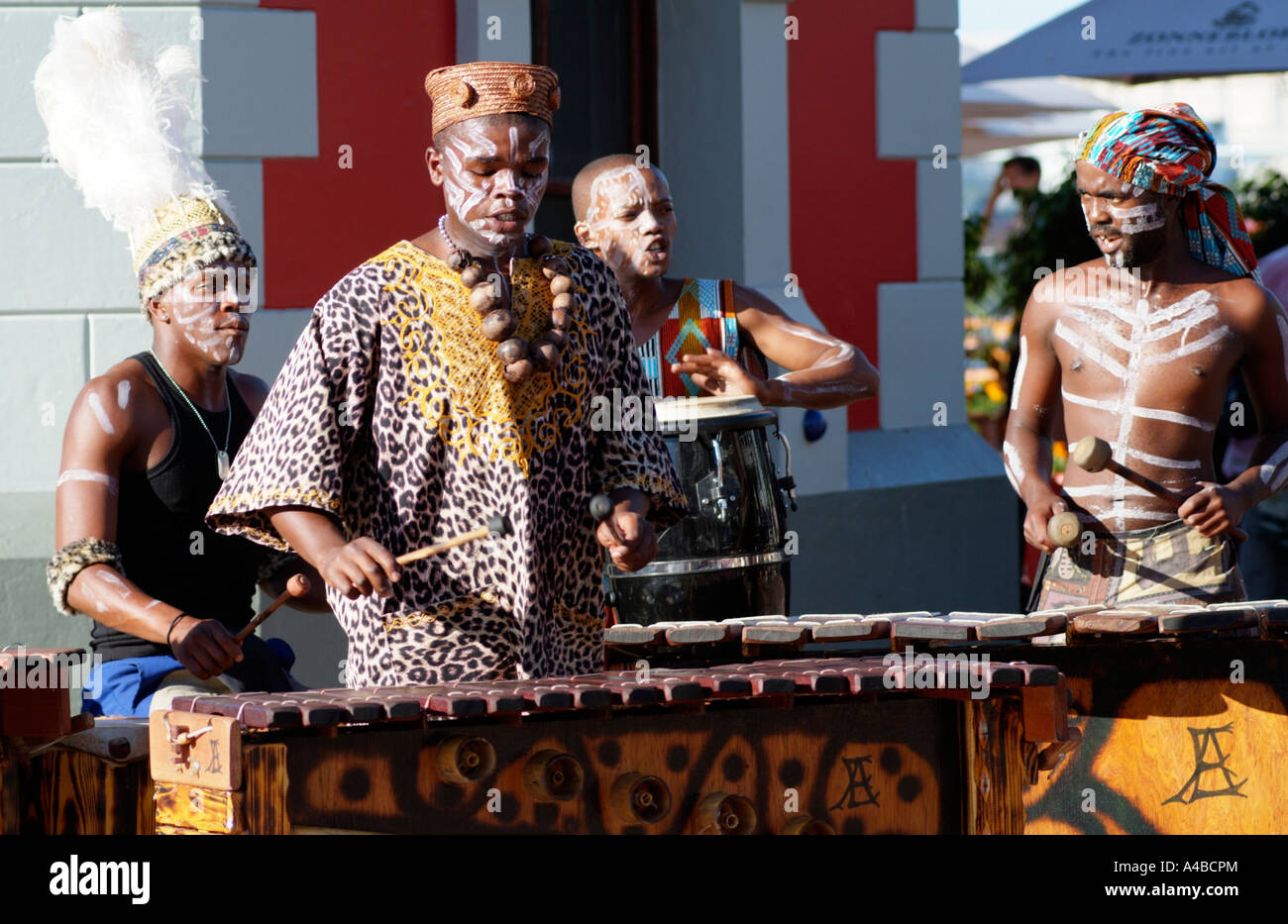 African musicians with painted faces busking Cape Town South Africa RSA - Stock Image