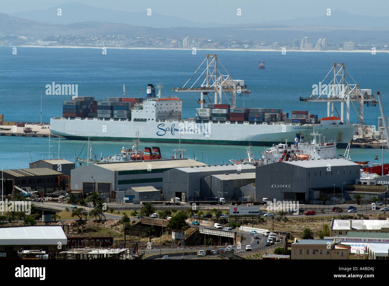 Port of Cape Town South Africa Container ship of the Safmarine company the S A Winterberg in the container terminal Stock Photo