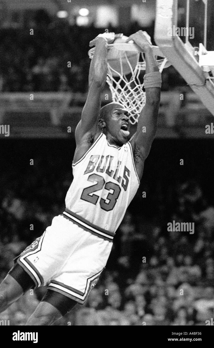 63605a28f6ad Chicago Bulls and NBA star Michael Jordan stuffs the basketball during a  game in 1988 -